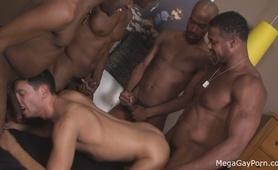 Mega Gay Porn - Latino dude taking on 4 black dicks